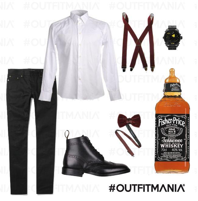 "Style of Bartender | Jeans neri regular, camicia bianca versace e bretelle ""effetto vintage"" e orologio diesel... | #outfitmania #outfit #style #fashion #dresscode #amazing #shirt #bretelle #shoes #parties #man #kebello #loake #orologio #versace #watch #diesel | CLICCA SULLA FOTO PER SCOPRIRE L'OUTFIT E COME ACQUISTARLO"