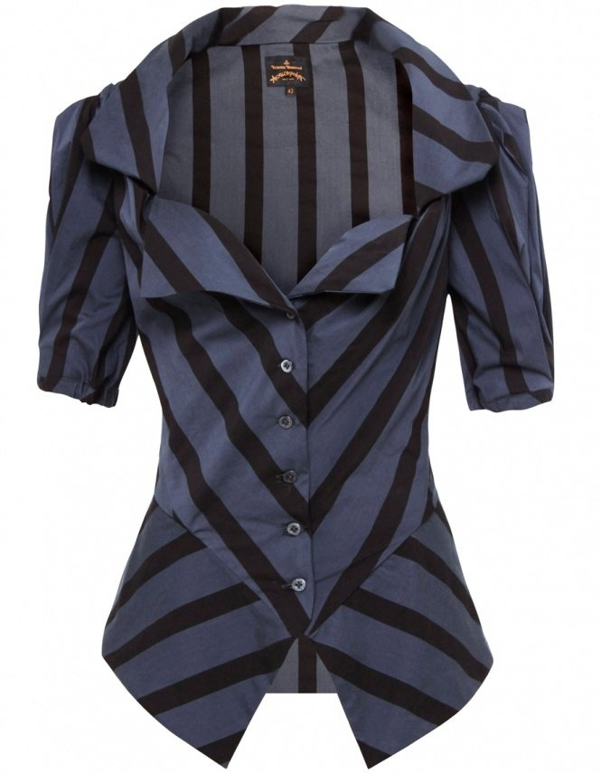 Vivienne Westwood / Blazer navy and black stripes, with three quarter inch sleeves