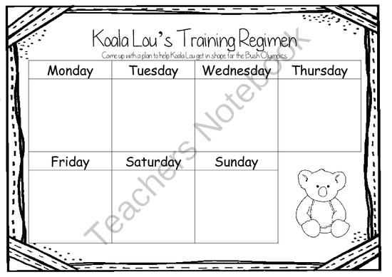 Koala Lou by Pamela Lofts ~ A week of reading activities from Miss Simplicity's Store on TeachersNotebook.com -  (22 pages)  - A book a week: Koala Lou by Pamela Lofts Read the book daily for a week and complete a activity a day - oh so simple!