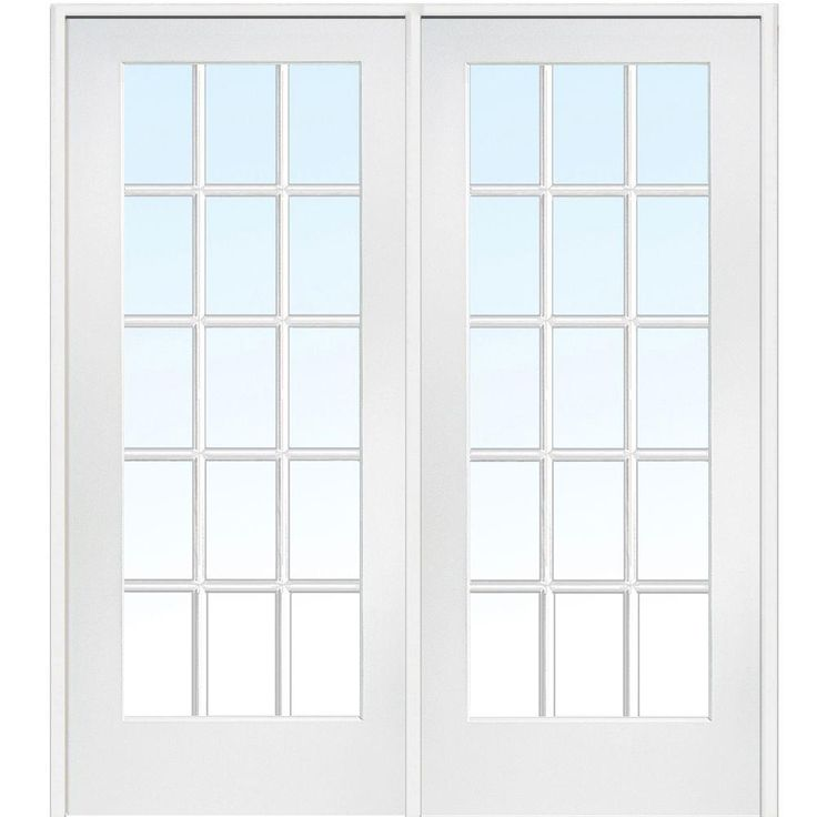 Milliken Millwork 74 in. x 81.75 in. Classic Clear Glass 15-Lite Interior French Double Door-Z009309R - The Home Depot