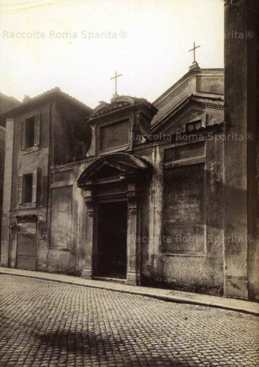 Roma Sparita - Chiesa Sant'Urbano, su via Alessandrina (demolito, i resti si trovano nell'area dei nuovi scavi del Foro di Traiano). Foto di Filippo Reale del febbraio 1933