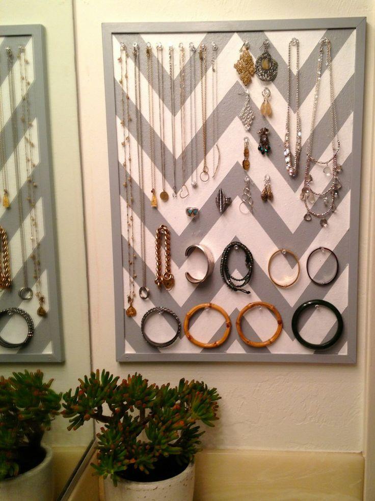 Jewelry storage - DIY chevron stripe cork coard