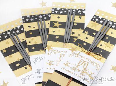 stempel einfach - Wunderkerzen  und Sternenglanz. Silvester kann kommen! Mit Stampin up Stempel und Papier liebevoll verpackt.