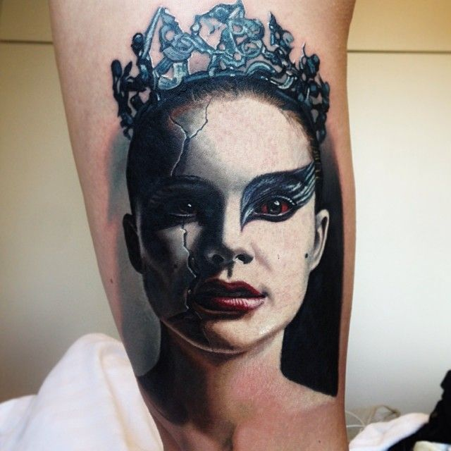 Black Swan Natalie Portman Colour Portrait Tattoo by Nikko Hurtado
