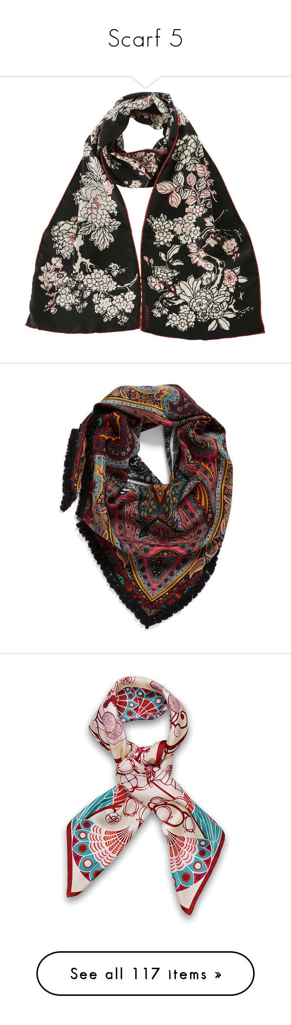 """""""Scarf 5"""" by dmiddleton ❤ liked on Polyvore featuring accessories, scarves, black, print scarves, patterned scarves, valentino scarves, multi, triangular shawl, silk scarves and echo scarves"""