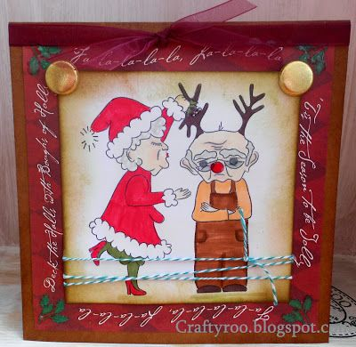A cheeky christmas card made using the latest stamps from Dimension Stamps.