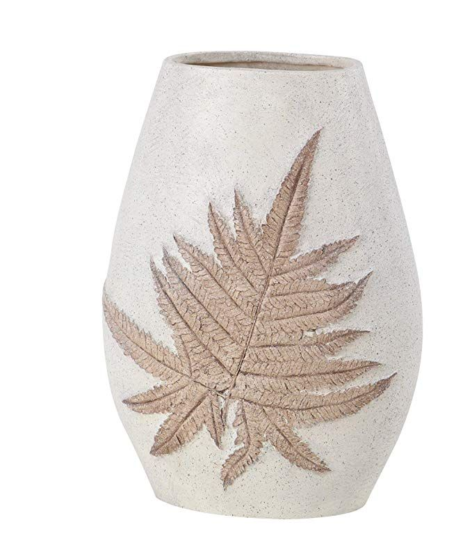 Ten Waterloo Natural Leaf Embossed Vase Off White//Cream Finish 14 Inches high x 10 Inches Wide