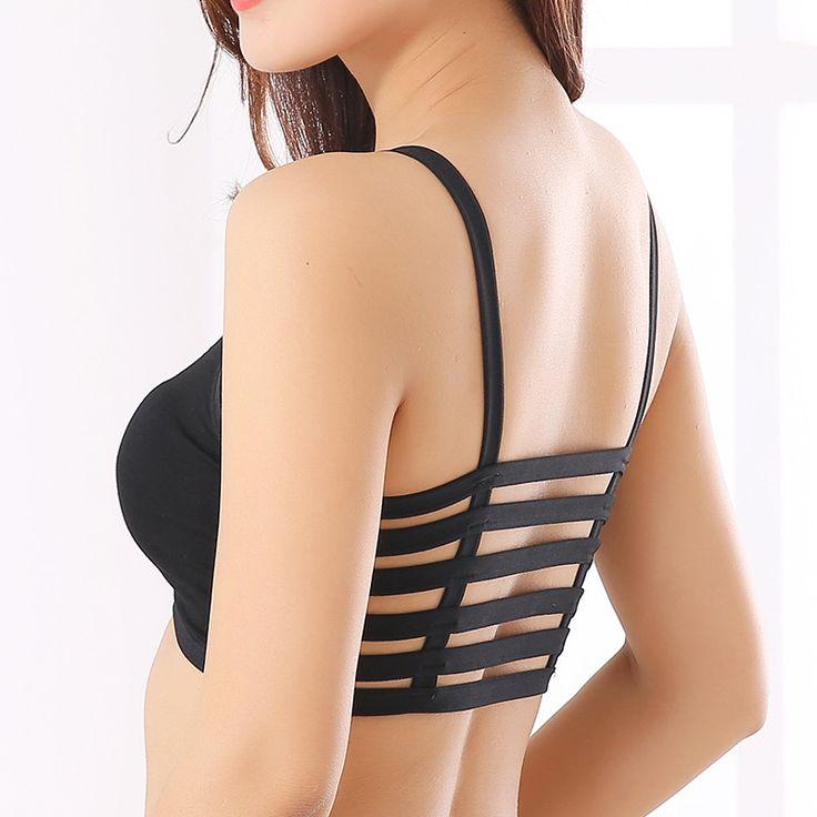 100 개/몫 새로운 여성 패딩 브라 감싸 가슴 속옷 크로스 스트랩 자르기 탑 그릴 브래지어