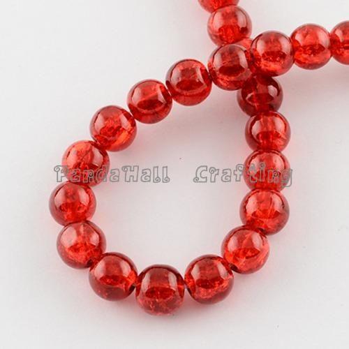 Треск нитки Стеклянных Бусин, круглый, красный, 10 мм, отверстие: 1.3 ~ 1.6 мм, 31.4
