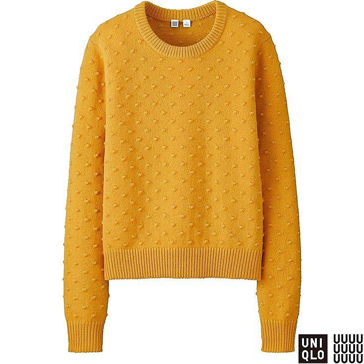 WOMEN U Lambswool Stitch Crew Neck Sweater Dot