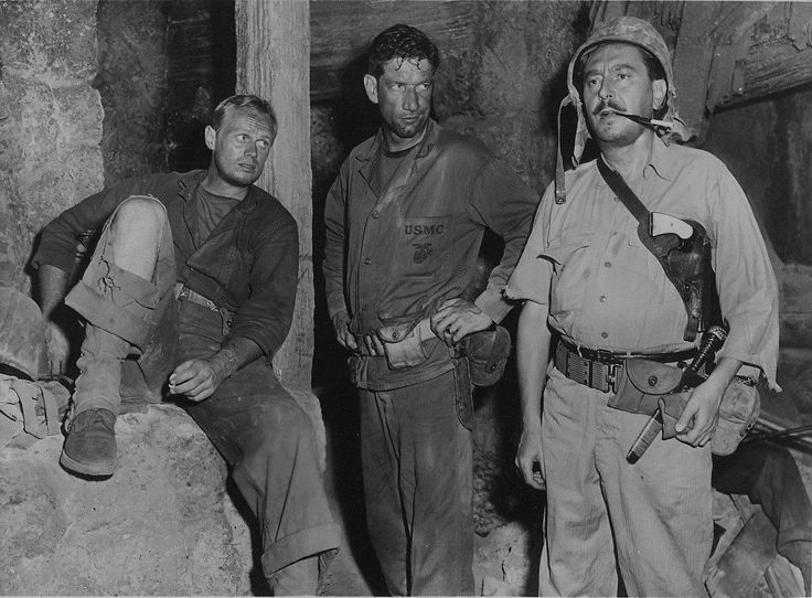 Richard Widmark, Richard Boone and Reginald Gardiner in HALLS OF MONTEZUMA (1951)