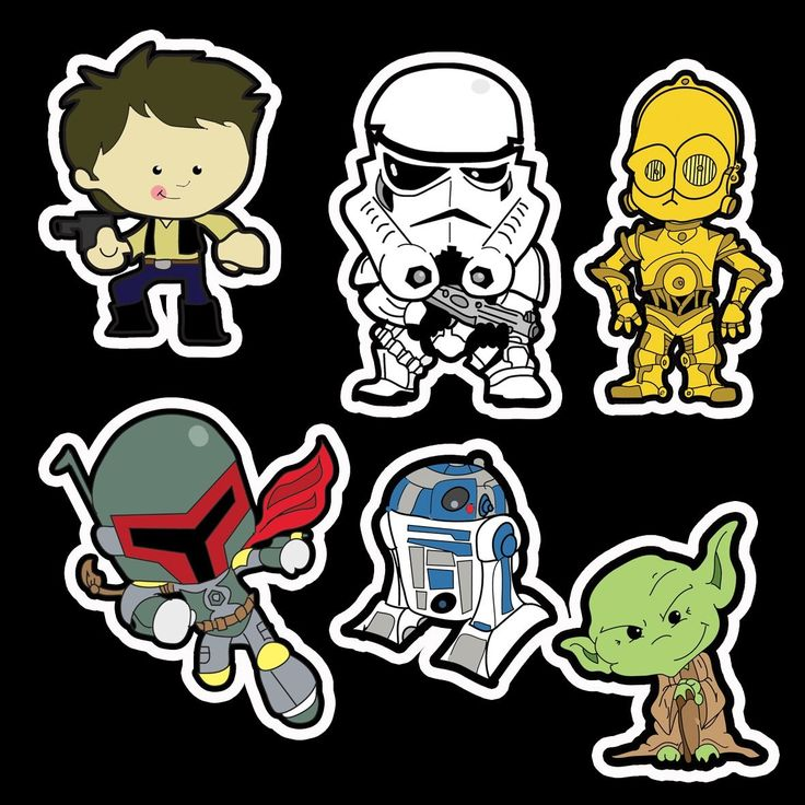 Dave evans illustration vinyl sticker shop characters for Autocollant mural star wars