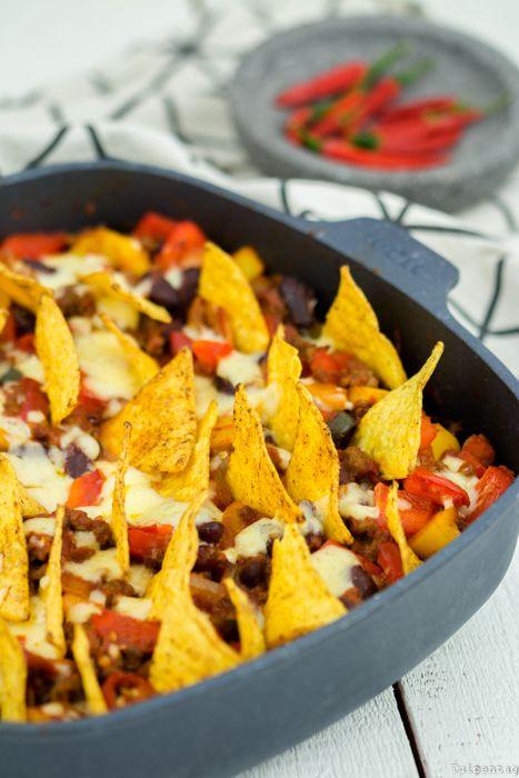 Taco-Pfanne Hackfleisch Auflauf Tortilla Chips mexikanisch Rezept
