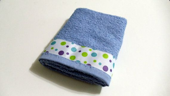 Baby Blue Hand Towel  Bib Burp Cloth Towel White with Baby Color Trim #handmade #monogrammed