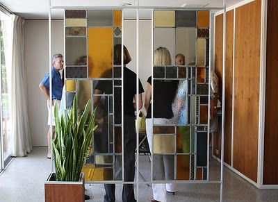 mid century stained glass styling as a room divider