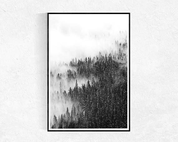 Landscape photography print forest art print scandinavian wall art black white landscape photograph mountains modern minimalist
