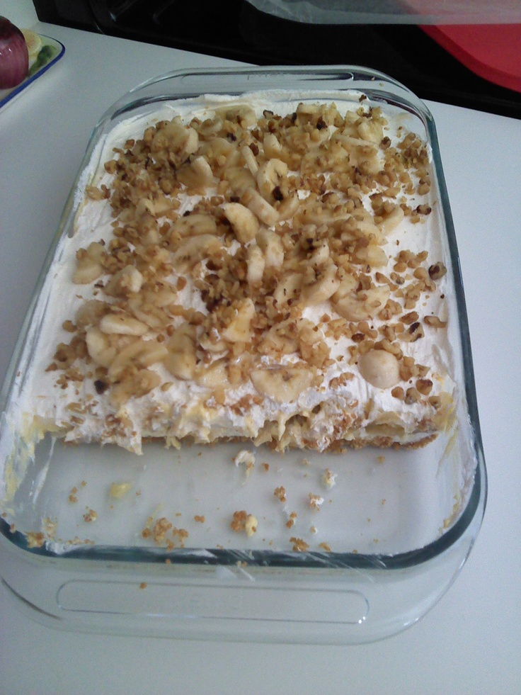 """BANANA """"SPLIT"""" CAKE-- I have made this over & over...it is always a hit anywhere for any occasion!"""