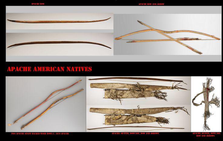 Archi Apache. Prima dell'introduzione delle armi da fuoco, l'arco per l'uomo Apache era l'arma preferita, indispensabile, nella caccia e nel combattimento. Era di fattura molto accurata, piuttosto corto e rinforzato con tendini, veniva portato e custodito in un'apposita custodia appesa alla faretra.