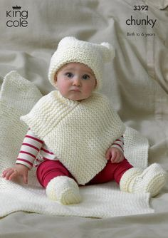 Babies Hat, Poncho, Bootees & Blanket in King Cole Comfort Chunky - 3392
