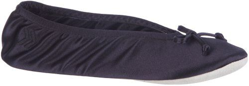 Isotoner Women's Satin Ballerina Slipper  Luxurious stretch satin for sophisticated style  Cotton-blend terry sock cushions foot in soft, breathable comfort  Isoflex comfort conforms and flexes with your feet and fits securely for your active lifestyle  Ballerina silhouette for classic comfort and chic, feminine style  Soft, low-profile faux suede outsole