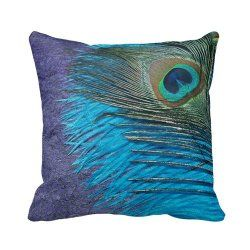 Purple And Teal Peacock Throw Pillow Cover $19.00 www.allthingspeacock.com - Peacock Throw Pillows