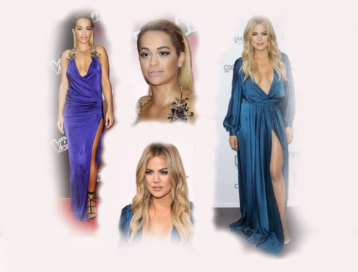 blue  long dress, Rita Ora VS Khloe Kardashian Odom fashion diva who-wore-it-better celeb celebrity