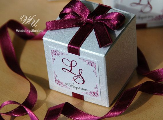 Custom Wedding Bonbonniere White Candy Box With Plum Satin Ribbon Bow And Names Textured Favors Gift