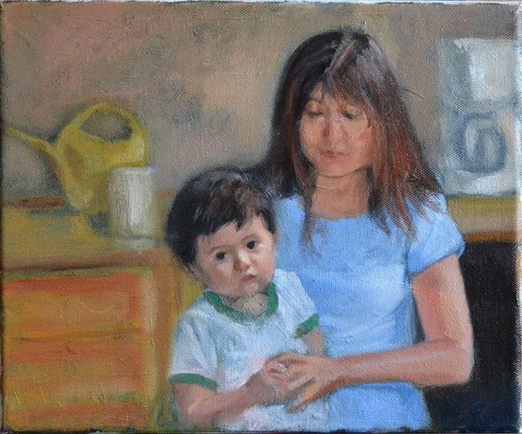Peter Valve: Oil painting sketch, my wife and son. 24x18 cm