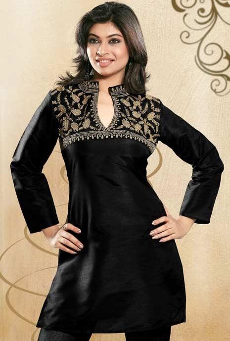 Black Raw Silk Embroidered Tunic    Itemcode: TSP337    Price: US$ 23.31    Click @ http://www.utsavfashion.com/store/item.aspx?icode=tsp337