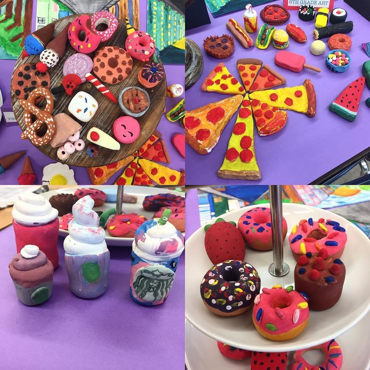 All done with the Claes Oldenburg mini food sculptures. This was my first time using Model Magic and I must say I am very pleased. Besides some minor cracking, all the pieces turned out excellent!  The display was from our open house the other night. #foodart #clay #claesoldenburg #middleschool #artroom #teachersofinstagram #tinyfood #arteducation #6thgrade