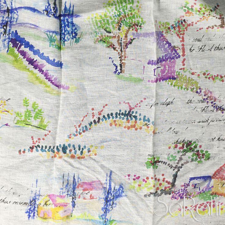 Tessuto 310 Cm ATLAS Lino Dipinto Colorato Arredo Tendaggi Cuscini Letto SARANI