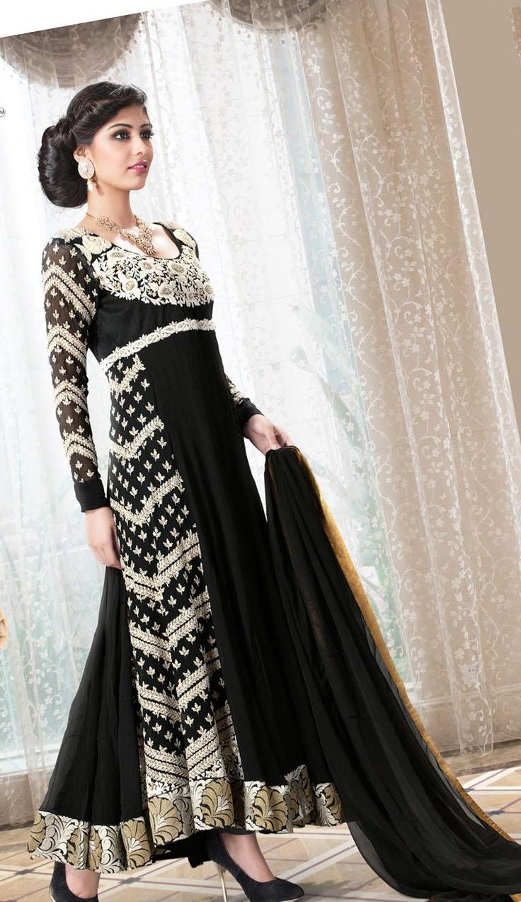 $100.21 Black Full Sleeve Faux Georgette Long Anarkali Salwar Kameez 20590