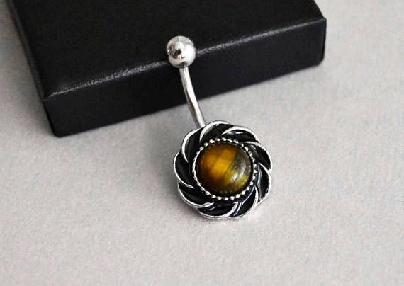 Tiger's Eye Belly Button Ring Navel Piercing Bar Barbell