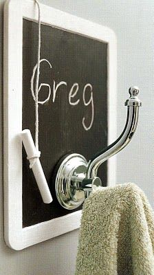 Cute idea for the guest bathroom -  know whose towel is whose!: Cute Ideas, Bathrooms Decor, Mud Room, Chalkboard Bathroom, Bathroom Ideas, Chalkboard Towel, My, Vintage Decor, Living Space