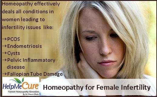 Homeopathy effectively deals all conditions in women leading to infertility issues  like: PCOS Endometriosis Cysts Pelvic Inflammatory disease Fallopian Tube Damage