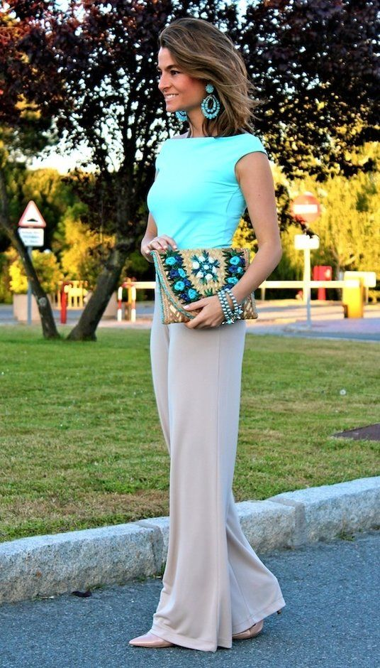 Chic Office Looks cyan top beige pants purse summer Style outfit clothing women apparel fashion