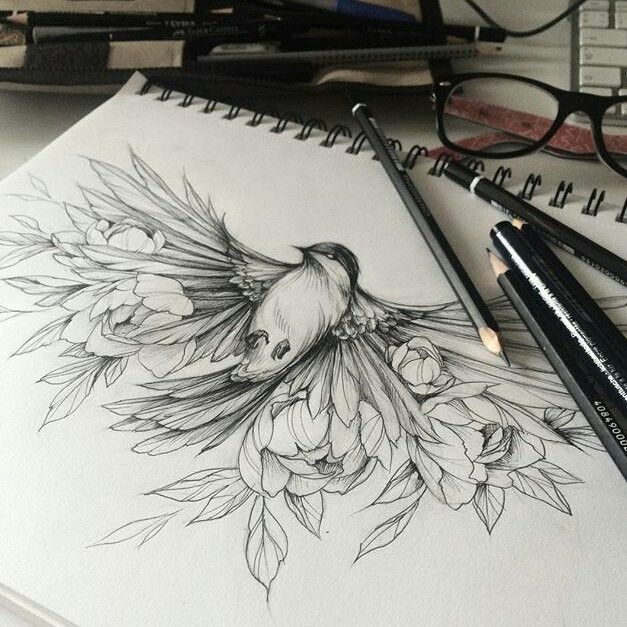 Bird in flight with flowers for wings - gorgeous for thigh or side piece