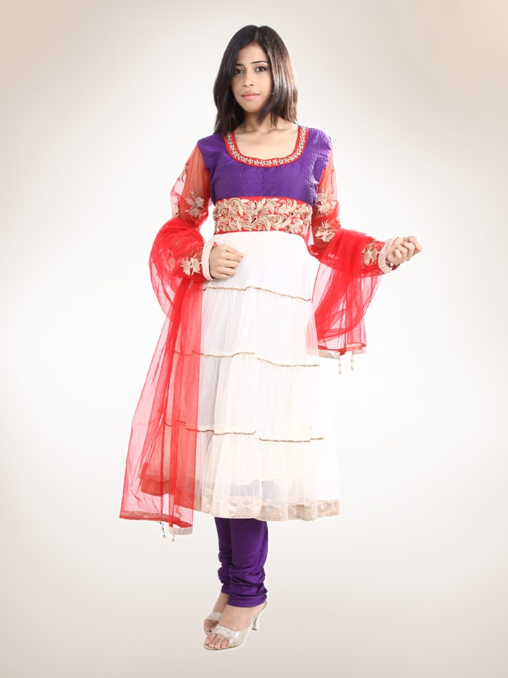 4 Tier Off-White Net Kurta with Red Net Dupatta