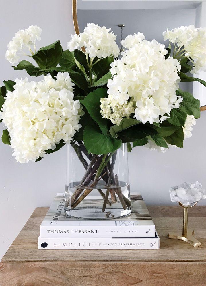 Decorating With White Hydrangeas My Favorite Flower Floral Arrangements Decor Home Decor Accessories