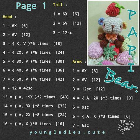 Papi bear with strawberry      #freecrochetpattern #bear #flower #hello #crochet #crocheting #crocheted #amigurumidoll #dolls #doll #amigurumi #handmade #handmadeaccessory #accessory #yarn #곰 #인형 #코바늘인형 #코바늘 #뜨개질 #꽃 #핸드메이드 #악세사리 #핸드메이드악세사리 #얀 #헤로 #아미구루미