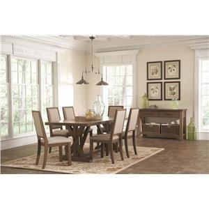 Coaster Bridgeport Rustic Craftsman Base Dining Table - Coaster Fine Furniture