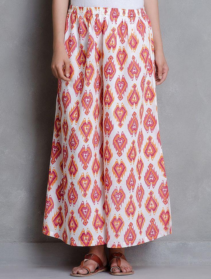 Buy White Multi Color Ikat Printed Elasticated & Tie Up Waist Cotton Palazzos Women A Season of Elegance Kurtas Dupattas in Chanderi Online at Jaypore.com