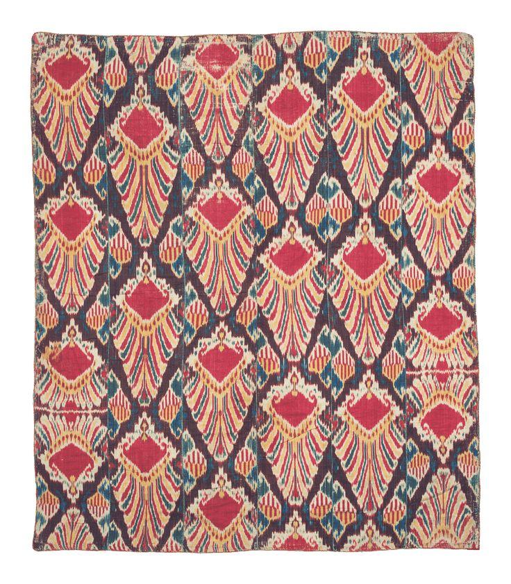 MOSHE TABIBNIA . Collezione . Tappeti, arazzi e tessuti d'alta epoca   Ikat  Uzbekistan XIX sec. , metà Tessuto in seta 192 x 163 cm Inv. n.: 147088