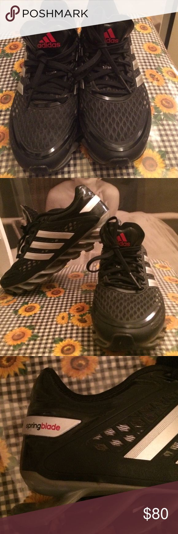 Adidas springblade Size 4 youth .. Excellent condition... Black and silver.. Adidas Shoes Sneakers
