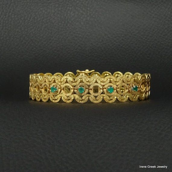 Natural Emeralds Bracelet Byzantine Style 18K Solid Yellow