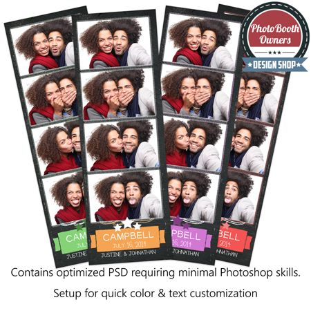 Chalkboard Fun 4-up Strips Photo Booth Templates. This chalkboard photo booth template is perfect for that fun chalkboard wedding coming up. The design features a fun chalkboard with hashed frame photos, a fun banner for the couple's last name and star clusters to top off the retro feel. This template is very flexible and the chalk stroke colors can easily be adjusted throughout.
