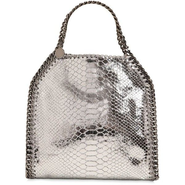 Stella Mccartney Women Mini 3chain Falabella Metallic Bag (1,190 CAD) ❤ liked on Polyvore featuring bags, handbags, shoulder bags, silver, stella mccartney purses, metallic handbags, white shoulder bag, stella mccartney handbags and metallic purse