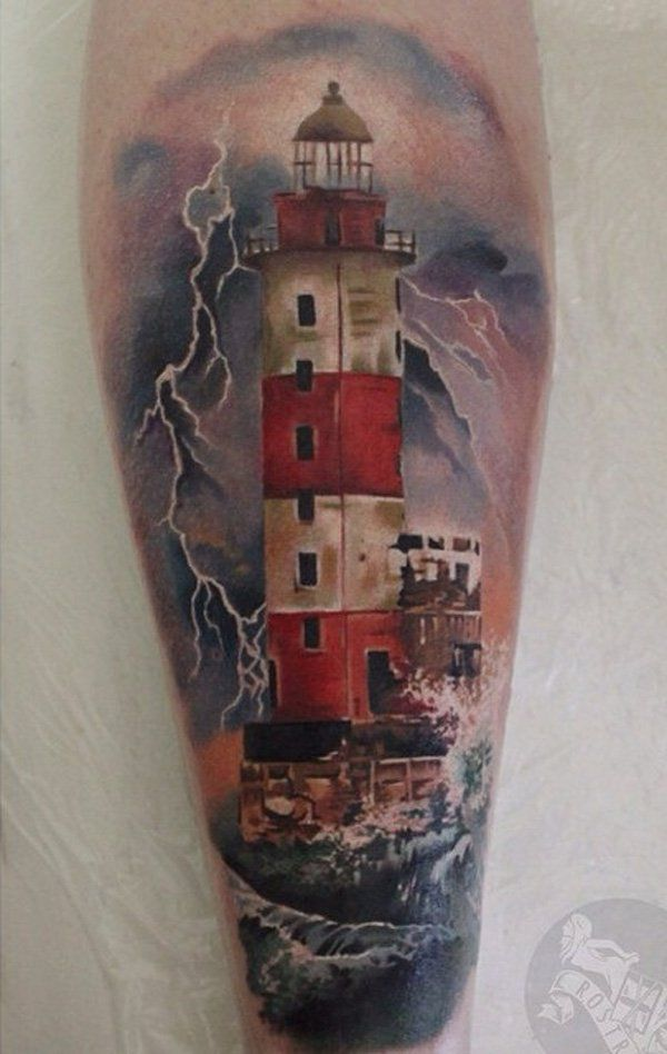 Another tattoo depicting a storm at sea. As storm and this tattoo is dark except the color red on details on the lighthouse.