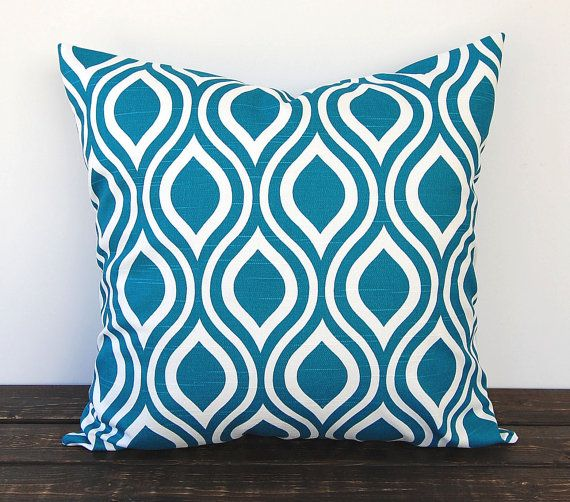 Teal pillow cover One 18 x 18 inches Nicole Aquarius Teal cushion cover modern pillows