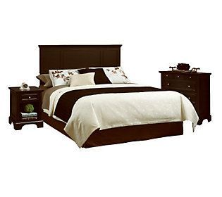 Home Styles Bedford Black Queen Headboard, Nightstand, & Chest
